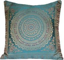 Teal Green Mandala Cushion Covers Banarasi Indian 38cm