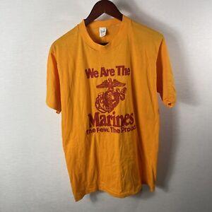 Vintage Marine Corp T Shirt United States L yellow 80s singlestitch