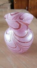 Vintage Art Glass Teleflora Pink Swirl Iridescent Glass Vase 6""
