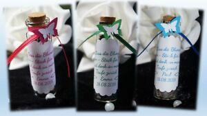 Gastgeschenk Hochzeit Taufe Geburtstag Blumensamen Rosenblüten Reagenzglas Glas