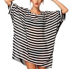 Women Plus Size Loose Tops Beach Bikini Cover Up Dress Black White Stripes New