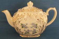 VINTAGE SADLER CUBE TEAPOT CREAM DITSY BLUE FLOWERS GOLD MADE IN ENGLAND