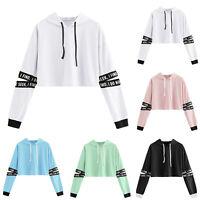 Ladies Long Sleeve Crop Top Hoodie Hoody Sweatshirt Lounge Pullover Jumper Sport