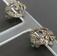 BEAUTIFUL DETAILED VINTAGE ART DECO SILVER TONE & MARCASITE CLIP ON EARRINGS