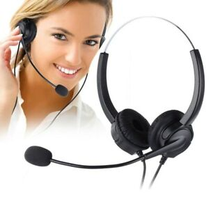 4-Pin RJ9 Hands-Free Call Center Noise Cancelling Corded Binaural Headset Headph