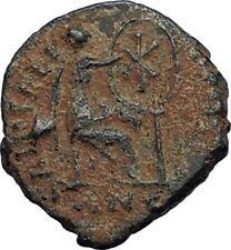 Aelia flacilla Teodosio I esposa 383AD antigua moneda romana victoria Chi-rho i67701