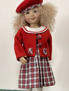 Effner Little Darling Holiday Colors Three Piece Ensemble-dress, hat and jacket
