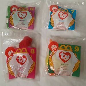 McDonalds Happy Meal Toys 1996 TY Beanie Babies #6-#9 Lot of 4