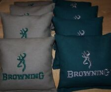 8 Quality Embroidered Cornhole Bags! Browning! 4 Tan and 4 Green! Nice!
