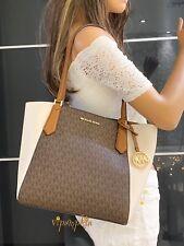 Michael Kors Kimberly Small Bonded Tote MK Signature PVC Bag Brown Light Cream