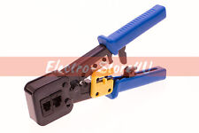 RJ45 Cat5e Cat6 Crimping Tool Cable Cutter Stripper - Connector End Pass Through