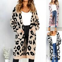 Women Winter Leopard Print Long Sleeve Cardigan Outerwear Tops Sweater Overcoat