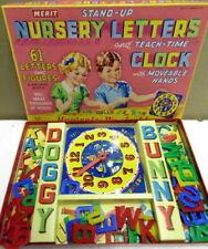 Vintage Merit NURSERY LETTERS and Teach-Time clock educational EX con.