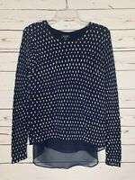 Lucky Brand Women's Sz S Small Navy Blue Beige Dot Fall Winter Cute Sweater Top
