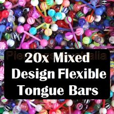 20 x Mix UV Flexible Tongue Bar Rings Barbell Body Piercing Jewellery