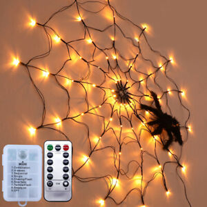 Spinnennetz LED Lichternetz Lichterkette Lichtervorhang Halloween Party Licht DE