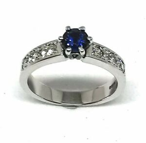 18 carat white gold. 40ct sapphire and diamond ring size L