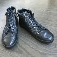 Chanel Women Black Leather Boots Shoes Size 39