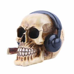 Resin Craft Statues Skull With Headphone Figurines Home Halloween Decoration