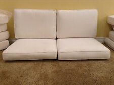 4 pc Frontgate Monterey Lounge Outdoor Patio Sofa LOVESEAT cushions 44x20 White