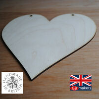 5 x Heart Wooden Blank Hanging Door Wall Plaque Sign Craft Shape 20cm x 18cm
