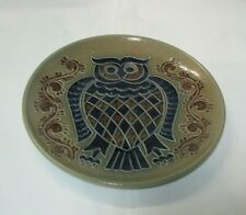 Goebel Merkelbach Keramik Teller Salzglasur Eule 25cm Wandteller Handarbeit 1983