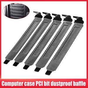 5pcs PCI Slot Cover Heat Dissipation Dust Filter Plate Hard Steel Black Computer