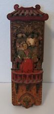 Unusual Vintage Oriental Geisha Burntwood Door Bell Chime Music ? Box Pyrography