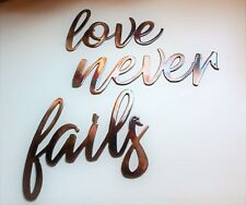 Love Never Fails Words Metal Wall Art Accents  Copper/Bronze Plated