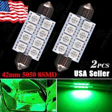 2x Green 42MM 5050 8-SMD Festoon Dome Map Interior LED Light bulb 211-2 578 569