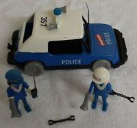 Vintage PlayPeople Playmobil Blue Police Car 1976 GEOBRA 2 x Figures