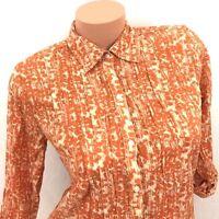 Eddie Bauer Women's Blouse Top Shirt Orange Button Down 3/4 Sleeve Career Size S