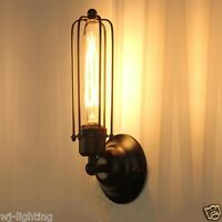Long Cage Shade Metal Vintage Retro Industrial Ceiling Wall Light Lamp Fitting