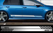 2 BANDES GRIS METAL POUR VW GOLF GTI 180cmX8,5cm AUTOCOLLANT STICKER AUTO BD566