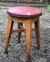 Edwardian Industrial oak workshop stool