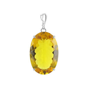 """925 Sterling Silver Bail Big Oval Simulated Citrine 1.2 x 1.8"""" Pendant #PNPS060"""