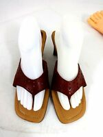 "FIONI RED LEATHER SANDALS 3"" HEELS WOMENS US SIZE 10 M / UK 8 / EU 40.5"