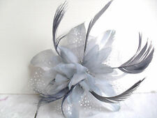 Silver Grey Fabric Flower and Feather Fascinator Hair Comb Wedding Races Ball