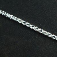 925 Sterling Silver 5x4 mm Oval Natural Aquamarine Gemstone Tennis Bracelet