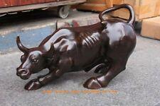 """Large  Bronze coffee Wall Street Bull OX  Figure Statue 11""""L"""