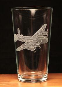 Lancaster Bomber WW2 RAF Aeroplane Aircraft engraved pint glass gift present