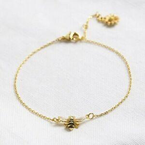 Gold Enamel Bumblebee and Daisy Bracelet