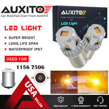 2X AUXITO Amber/Yellow 1156 BA15S 7506 LED Turn Signal Light Bulb For Ford Kia A