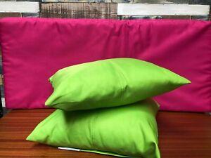 Bundle Of Outdoor Lime Green Cushions & Fuschia Pink Bench Cushion