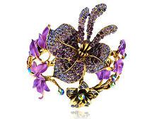 Purple Crystal Rhinestone Spring Floral Flower Bracelet Bangle Cuff Wrist Band