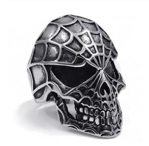 Knight Ring Titanium Head Dead Skull Canvas Spider Goth Skull Biker Harley