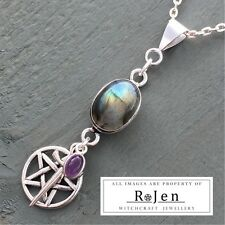 Labradorite & Amethyst Pentagram Athame Dagger Pendant Wicca Pagan Ritual Witch