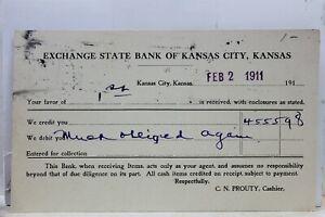 Kansas City KS Exchange State Bank Postcard Old Vintage Card View Standard Post