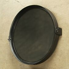 "Black Pivot Tilt Round Iron Mirror 14"" Diameter"