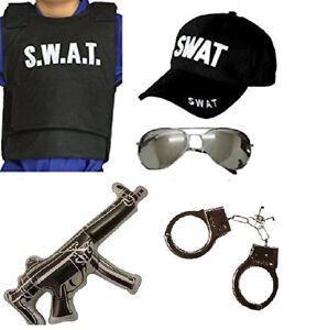 ADULT UNISEX SWAT POLICE SET VEST GLASSES CAP HANDCUFF GUN FANCY DRESS PARTY